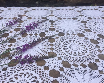 Vintage, Crochet, Square Tablecloth 90 x 90cm