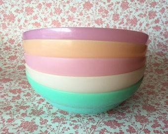 Vintage Tupperware pastel Cereal / Snack Bowls set of 5
