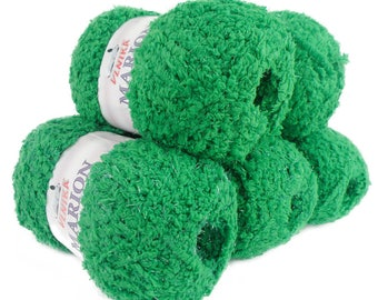 5 x 100 g soft Knitting yarn MARION with shimmering highlights, #112 Green