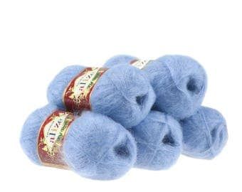 5 x 50g knitted yarn Alize Kid Royal, #40 Blue