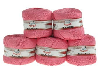 5 x 50 g Knitting yarn bamboo of by VLNIKA, #314 Pink-Pink