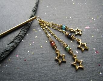 Multicoloured Stars Hair Stick, Stars Hair Stick, Crystals Hair Stick, Colourful Hair Pin, Boho Hair Accessory, Hair stick, Hair Jewelry