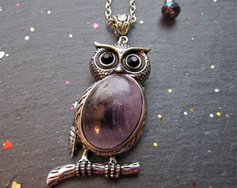 Amethyst Owl Necklace, Owl necklace, Purple Owl Necklace, Amethyst jewellery, Owl jewellery, Amethyst necklace, Gift Owl over, Owl Pendant