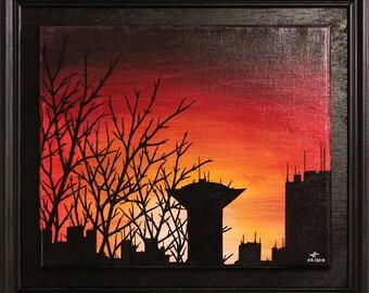 Painting: urban landscape.