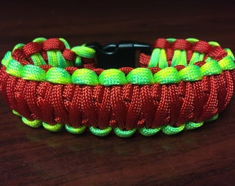 Red and Neon Yellow/Green King Cobra Paracord Bracelet