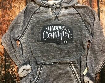 Happy Camper camping Distressed Hoodie