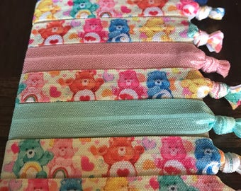 """5/8"""" Care Bear Themed Elastic Hair Ties, Set of 8, Elastic Hair Ties for Gifts, Party Favors, Goodie Bags, Birthday Party, Everyday Wear"""