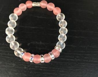 Clear and Cherry Quartz bracelet