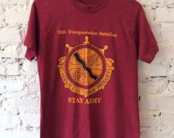 Vintage Army T-shirt / Size Medium / Batallion / 90s 1990s / Made in USA / Military / Veteran