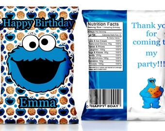 Cookie Monster Party Favor---Birthday party chip bags-----DIGITAL FILE ONLY!!!!