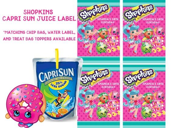Shopkins Shopkins Capri Sun Label Shopkins Birthday Party