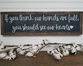 Hearts Full- Grateful Wood Sign - Wood Signs - Wooden Signs - Farmhouse Style - Entryway Decor - Rustic Signs