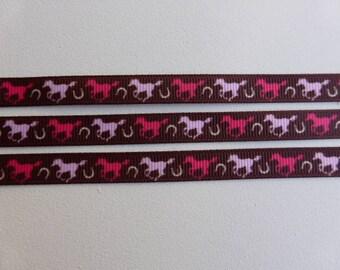 """Pink Horses grosgrain ribbon 9mm / 3/8"""" wide x 2 meters"""