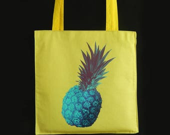 Pineapple, butterflies, cotton bag, drawing by hand, printed fabrics, colours, yellow, blue, tote bag, beach bag