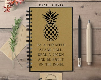 Writing Journal, Be A Pineapple, Journal, Hardcover, Spiral Bound, Blank, Lined, Bullet Journal