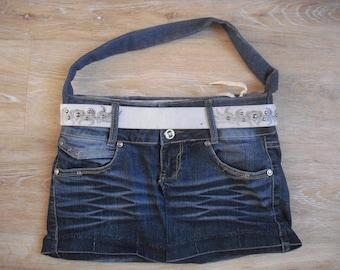 bag denim faded completely doubled to wear l ' shoulder