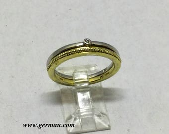 2 JWRS sterling silver diamond stack ring  #60