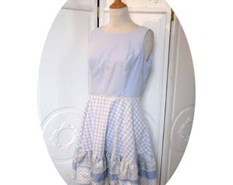 Blue gingham cotton dress Soline, short skirt flared a ruffle, cotton gingham summer dress, sleeveless dress