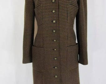 Vintage CHANEL Tweed Houndstooth Brown Long Coat Jacket Wool Blazer CC LOGO Buttons Excellent! 42