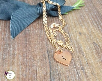 Copper and Rose Gold Necklace, 30th Birthday Gifts For Her, Personalised Christmas Gift For Her, Hand Stamped Jewellery,