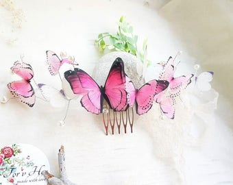 pink butterfly hair jewellry hairpiece butterfly pink hair comb butterfly hair accessory bridesmaid birthday gift  girl festival hair piece