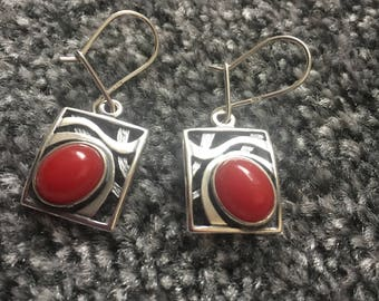 silver handmade dangle earrings