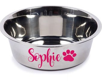 Dog Bowl Decal, Dog Dish Decal, Water Bowl Decal, Pet Lover Decal, Personalized Pet Decal, Dog Paw Decal, Cat Bowl Decal, Animal Lover Decal