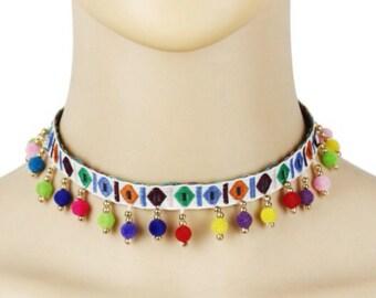 Beaded bohemian rainbow choker necklace