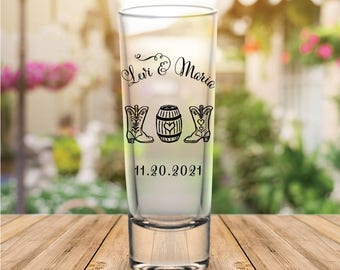 Custom Cowboy Boot Tall Wedding Favor Shot Glasses