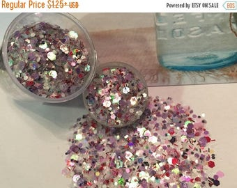 ON SALE Glitter Iridescent Blush Rose Nail Polish Franken or Vegan Glitter Mix