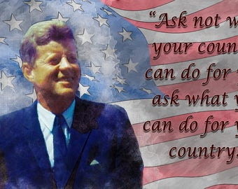 John F. Kennedy Watercolor and quote