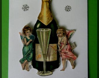 "3D Christmas card ""champagne and little angels"""
