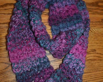 Pink, Purple and Grey Infinity Scarf