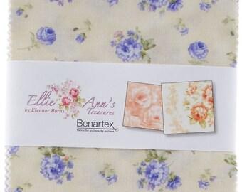 """Ellie Ann's Treasures Charm Pack by Eleanor Burns for Benartex - Charm Pack 42, 5X5"""" - Precuts Fabrics - Quilting Precuts - Floral Precuts"""