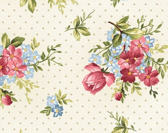 Roses with Dots - Roses on the Vine by Marti Michell for Maywood Studio - Floral Fabrics - Roses on the Vine Fabrics - Marti Michell Fabrics