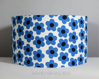 Geometric flower lampshade 35cm handmade by vivid shades modern retro scandi style funky floral pattern blue white black drum ceiling