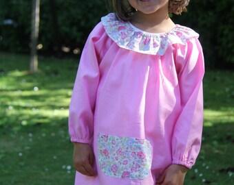 School smock/apron. 8 plain, pink Pocket Liberty bliss.