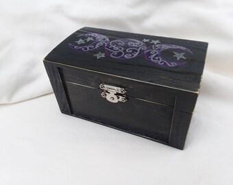 Triple moon Goddess box, manifestation box, handpainted