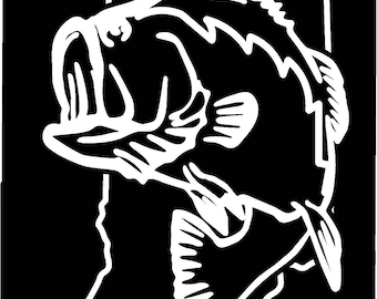 Indiana Largemouth Bass Fishing state outline window sticker decal