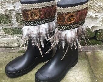 Boho Embelished Feather Fringed Festival Wellie Boots