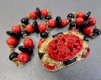Neiger, Czech, Vintage, Choker, Red Molded Glass, Art Deco Necklace