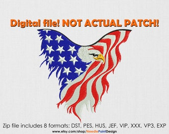 INSTANT DOWNLOAD - American Eagle Flag machine embroidery design. USA Flag. 4 of july. Unites States Flag. Embroidery file