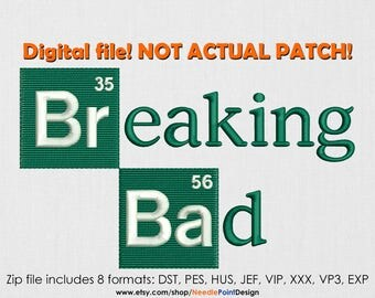 INSTANT DOWNLOAD - Breaking Bad machine embroidery design. Jesse Pinkman. Walter White. Heisenberg. Embroidery file