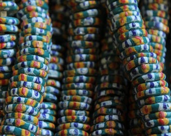 Teal Green Striped Recycled Glass Disc Beads from Ghana - ARG 063