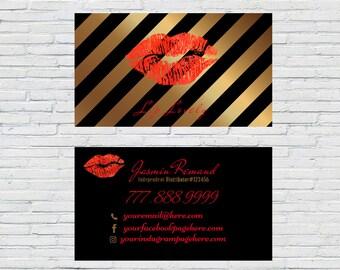 Gold LipSense Business Cards, LipSense card, custom card, for SeneGence, LipSense distributor, LipSense business Printable, Business Card