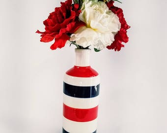 Patriot, July 4th, Floral, Arrangement, Red, White, Real Touch, Carnation, Red, White, Blue, Vase