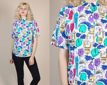 90s Colorful All Over Print Top // Vintage Novelty Button Up Collared Blouse