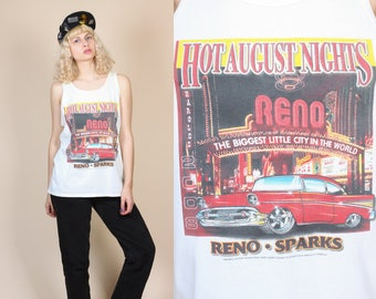 Reno Hot August Nights Classic Car Shirt - Large // Retro Style Tank Top Nevada Muscle Tee