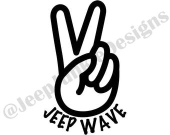 Jeep Wave Peace Sign Vinyl Decal