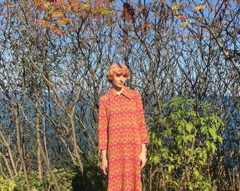 70s Psychedelic Patterned Floor Length Dress